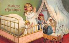"Unsigned c. 1910, ""A Merry Christmas"" Young Girl & Dolls Praying, Series #770"