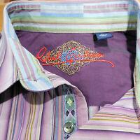 ROBERT GRAHAM Men's L Large Flip Cuff Button Down Shirt Striped Cotton Purple