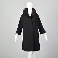 L 1950s Black Coat Mink Fur Collar Warm Winter Jacket Pinup Warm Wool 50s VTG