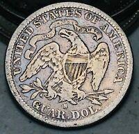 1877 S Seated Liberty Quarter 25C Higher Grade Choice Good US Silver Coin CC6965