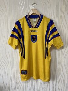 SWEDEN 1996 1998 HOME FOOTBALL SHIRT SOCCER JERSEY ADIDAS VINTAGE