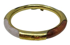 Multi Gemstone Bangle BRACELET EUC Security Chain Onyx Quartz Gold Tone