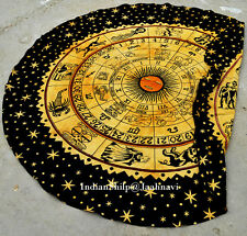 Astrology Wall Hanging Round Beach Yoga mat Zodiac Hippie Cotton Tapestry Ethnic