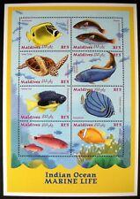 2001 MNH MALDIVES MARINE LIFE STAMPS SHEET INDIAN OCEAN SEA LIFE FISH TURTLE
