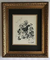 MARC CHAGALL ORIGINAL 1985 BEAUTIFUL SIGNED PRINT MATTED 11 X 14