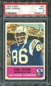 1962 Fleer #87 Earl Faison RC PSA 9 San Diego Chargers Hall of Fame U of Indiana