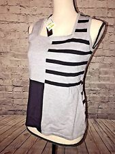 FONTANA Sleeveless Color Block Black/Grey Square Neck Knit Tank size S NWT