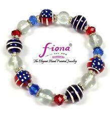 USA American Flag Patriotic Beaded Stretch Bracelet Women Wear w Gift Bag