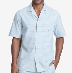 $95 Nautica Men Gray Blue Check Pajama PJ Short-Sleeve Sleep Herringbone Shirt L