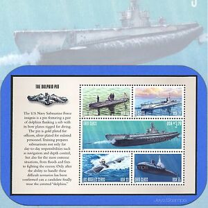 2000  U.S. NAVY SUBMARINES  Selvage #1 The Dolphin Pin  Booklet Pane of 5 Stamps