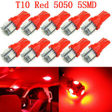 10X T10 Red 5050 5smd Wedge LED Interior Light Bulb W5W 194 168 2825 192 175 158
