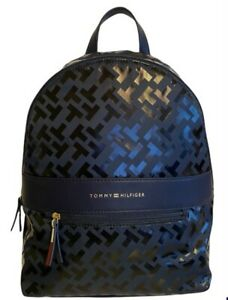 Tommy Hilfiger Geo Logo Navy Glossy Black Medium Backpack Bag