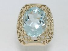 Aquamarin Ring 585 Gelbgold 14Kt Gold natürlicher facettierter Aquamarin 8,40ct