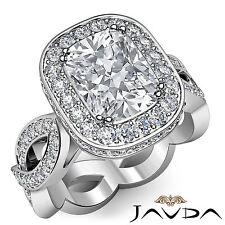 Unique Cushion Shape Diamond Engagement Ring GIA H VS2 14k White Gold 2.3 ct