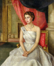 Art Oil painting of a young H.R.H. Queen Elizabeth II of Great Britain canvas