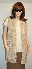 New $288 French Connection Faux Fur Vest sz 8 Hip Sleeveless Cream Classic