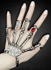 B003 Silver Punk Goth Skeleton Skull Slave Bones Talon Hand Bracelet Ring ***30