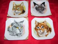 Rare Vintage Cm Inc Chadwick Miller Japan Small Porcelain set 4 cat plates 1567