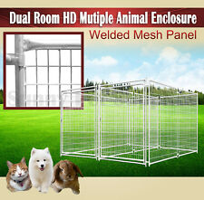 2.4m Dual Room Heavy Duty Animal Enclosure Fencing Dog Space Kennel Outdoor BNE