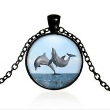 Dolphin Black Dome glass Photo Art Chain Pendant Necklace