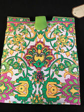 Cloth Clutch Made in India with Embellishments Green Pink Yellow NWT Very Nice
