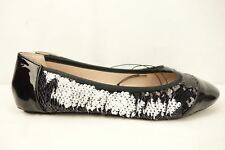 Betsey Johnson SUNGLOW Shoes Black/White Reversible Sequin 6.5 Ballet Flat New