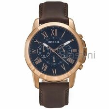 Fossil Original FS5068 Men's Grant Brown Leather Watch 44mm Chonograph