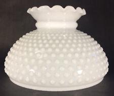 """10"""" Fitter Opal Glass Student Kerosene Oil Hobnail White Crimped Top Lamp Shade"""