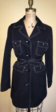 J. CREW Trench Black Contrast Stitch Trench Coat Belted Rain Jacket Ladies SZ 10