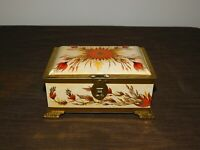 "VINTAGE KITCHEN LINETTE WESTERN GERMANY 6 3/4"" X 4 5/8""  HIGH FLOWERS TIN BOX"