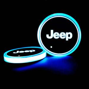 2PCS LED Car Cup Holder Lights Pad For JEEP Interior Atmosphere Lamp Lights