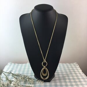 HOBBS Gold Tone Lucy Long Pendant Necklace RRP ϣ29 BNWT Hammered Detail