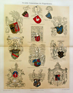 1896 Antique HERALDIC ARMS SHIELD Lithograph Art Chromatography Art Print Plate