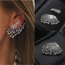 2018 Women Trend Punk Style Zircon Statement Crystal Ear Stud Earrings Jewelry