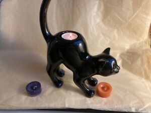 B/N Partylite Black Cat Tea light holder & Yankee Candle Halloween Tea Lights