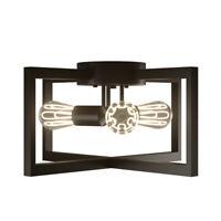 3-Light Flush Mount Geometric Metal Ceiling Lamp w/Iron Square Lampshade Bedroom