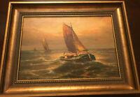 Altes Gemälde / Bild SEGELSCHIFFE ca. 34,5x26cm im wunderschönen Holzrahmen