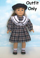 """New """"Navy Plaid Dress & Wool Hat"""" Outfit #85756L fits 18"""" American Girl Dolls"""