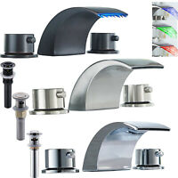 """Widespread 8"""" Bathroom Basin Faucet LED Waterfall Tub Sink Mixer Tap Deck Mount"""