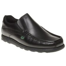 Mens Kickers Black Fragma Slip on Leather Shoes Loafers and Ons UK 6.5