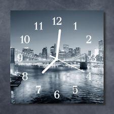 Glass Wall Clock Kitchen Clocks 30x30 cm silent Skyline Night Black & White