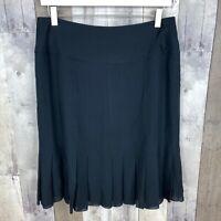 Jones New York Women's Size 8 Pleated Hem Skirt 100% Silk Black NEW