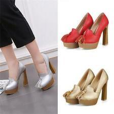Womens High Heels Tassel Round Toe Pumps Platform Wedding Party Slim Shoes Plus
