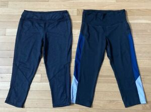Lot of 2 Women's Athletic Capris Kyodan & Champion Size Med Black and Gray