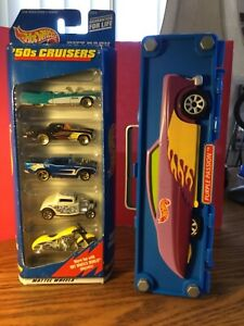 New Vintage Hot Wheels Purple Passion 6 Car Case & Gift Pack 50s Cruisers 5 Cars