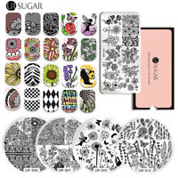 UR SUGAR Nail Art Stamping Plates Lace Rose Cactus Manicure DIY Image Templates