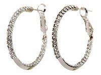 Swarovski Elements Crystal Baha Hoop Pierced Earrings Rhodium Authentic 7211v