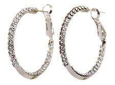 Swarovski Elements Crystal Baha Hoop Pierced Earrings Rhodium Authentic 7211c