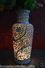 """12"""" Marble Flower Vase Floral Natural Stone Lattice Hand Carved Decor Gifts H704"""