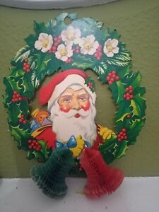Vintage 1950s/60s  Father Christmas Wreath Decoration